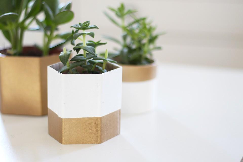 des-caches-pots-geometriques en carton à faire soi même5