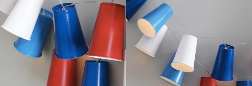 Des gobelets en carton pour une guirlande lumineuse DIY