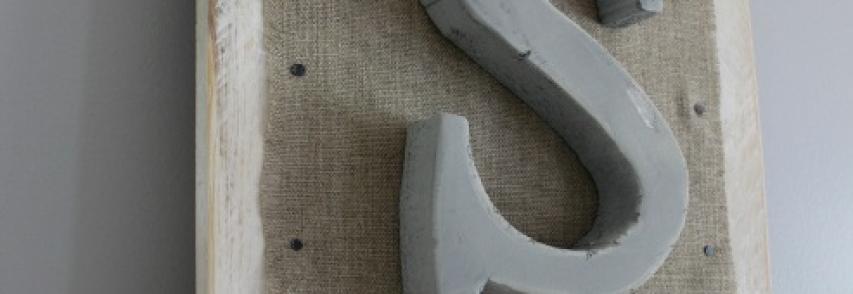 Tableau bois, polystyrène, toile de jute