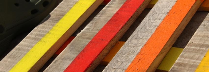 Paillasson en palette coloré